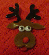 Fused Glass Reindeer Pin